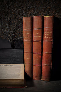 Objet de Curiosite - annales 1889 -4 volumes - cuir rouge-0.2m - Livre Ancien