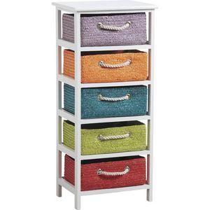 Aubry-Gaspard - commode 5 tiroirs couleurs - Colonne De Rangement