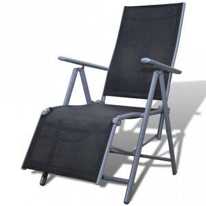 WHITE LABEL - chaise de jardin pliable transat noir - Fauteuil De Jardin Pliant