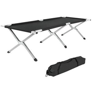 WHITE LABEL - lit de camp pliable xl 190cm + housse noir - Lit De Camp