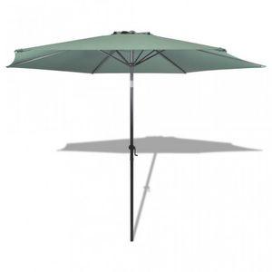 WHITE LABEL - parasol de jardin manivelle ø 3m vert - Parasol Télescopique