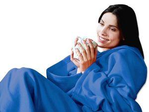 WHITE LABEL - couverture polaire à manches zen relax fatigue - Couverture