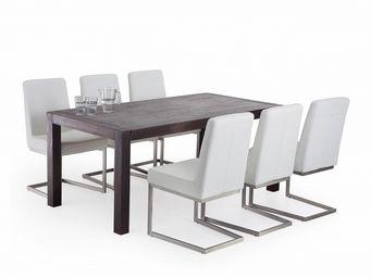 BELIANI - table en ch�ne natura de 180 cm fonc�e avec 6 chaises blanc arctic - Salle � Manger