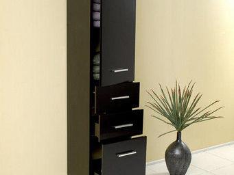 UsiRama.com - colonne de salle de bain design pas cher 1.7m noir - Colonne De Rangement Simple De Salle De Bains