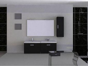 UsiRama.com - meubles salle de bain 2 vasques 120cm band - Meuble Double Vasque