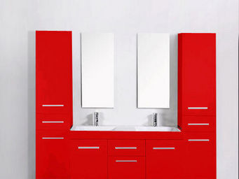 UsiRama.com - meuble double vasques think rouge avec 2 colones - Meuble Double Vasque