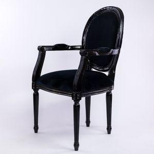 DECO PRIVE - fauteuil cabriolet style louis xvi en bois noir - Fauteuil Médaillon