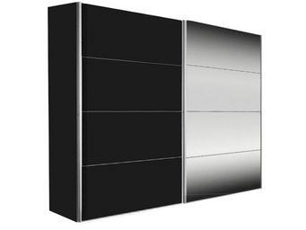 WHITE LABEL - dressing kick 252cm avec melamin� noir mat et miro - Armoire � Portes Coulissantes