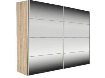 WHITE LABEL - dressing kick 202cm miroir et cadre chene avec por - Armoire � Portes Coulissantes