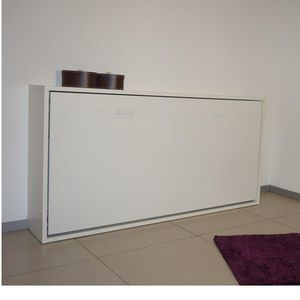 WHITE LABEL - armoire lit horizontale escamotable strada blanc m - Lit Escamotable