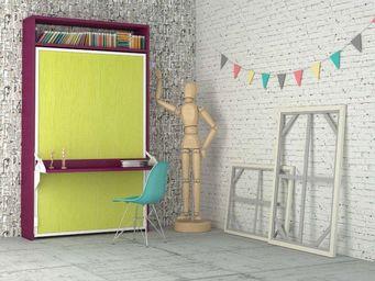 WHITE LABEL - armoire lit escamotable aphrodite, coloris framboi - Lit Escamotable