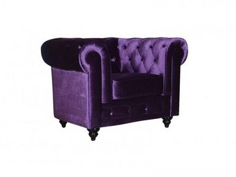 WHITE LABEL - fauteuil fixe chesterfield elite en velours violet - Fauteuil Chesterfield