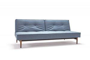 INNOVATION - canape splitback bleu, pieds bois clair, convertib - Banquette Clic Clac