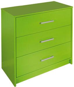 WHITE LABEL - commode vert pomme � 3 tiroirs en bois pin massif - Commode Enfant