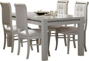 COMFORIUM - table à manger 160 cm blanc + 4 chaises ultra desi - Salle À Manger