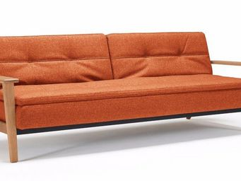 INNOVATION - canapé lit design dublexo frej tissu orange conver - Banquette Clic Clac