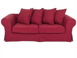 Home Spirit - canapé lit convertible harry microfibre rouge mate - Canapé Lit