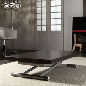 WHITE LABEL - table basse relevable extensible lift wood wengé - Table Basse Relevable