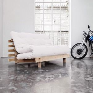 WHITE LABEL - canapé bz style scandinave roots futon écru coucha - Banquette Bz
