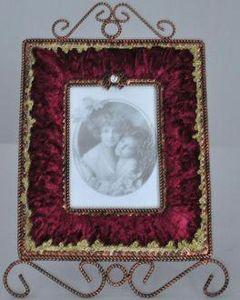 Demeure et Jardin - cadre rectangulaire velours rouge - Cadre