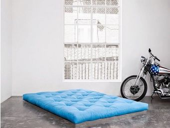 WHITE LABEL - matelas futon double latex bleu azur 140*200*18cm - Futon