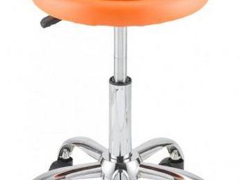 ID'CLIK - tabouret de bureau agathe orange - Tabouret À Roulettes