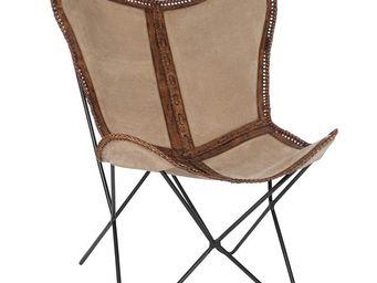 WHITE LABEL - chaise lounge cuir beige/marron - jolly - l 68 x l - Chaise