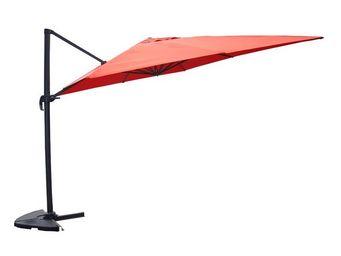 WHITE LABEL - parasol rotatif terracotta 3*3 m - terrine - l 300 - Parasol Excentré