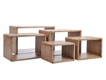 WHITE LABEL - set de 5 tables gigognes bois naturel - girolle - - Tables Gigognes