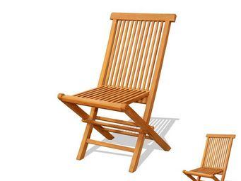 WHITE LABEL - duo de chaises pliables en teck - bikini n°1 - l 5 - Chaise De Jardin Pliante