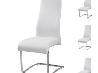 WHITE LABEL - quatuor de chaises simili cuir blanc - rome - l 46 - Chaise