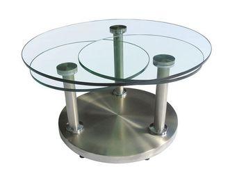 TOUSMESMEUBLES - table basse articul�e verre et m�tal - trygo - l 8 - Table Basse Forme Originale