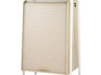 WHITE LABEL - armoire informatique à rideau - arkos n°3 - l 77 x - Armoire De Bureau