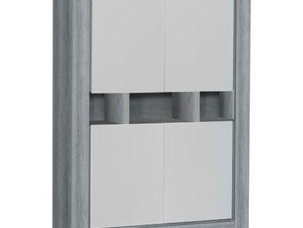 WHITE LABEL - vaisselier 4 portes chêne gris/blanc - norton - l - Vaisselier