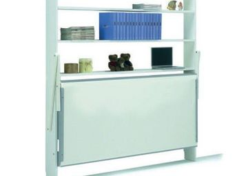 WHITE LABEL - armoire lit transversale fly couchage 90 * 200 cm  - Lit Escamotable