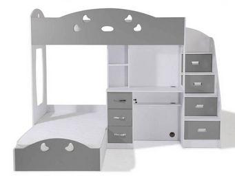 WHITE LABEL - lit mezzanine combi blanc et gris espace bureau in - Lit Mezzanine Enfant