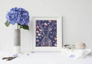 la Magie dans l'Image - print art cerf etoilé bleu - Estampe