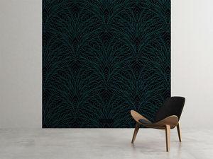 la Magie dans l'Image - grande fresque murale plumes de paon noir - Papier Peint Panoramique