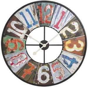 Aubry-Gaspard - horloge murale en métal et bois rétro 94x6cm - Horloge Murale