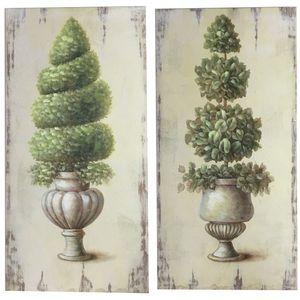CHEMIN DE CAMPAGNE - 2 tableaux cadres en bois peints buis vasque médic - Tableau Décoratif