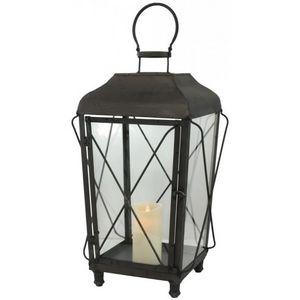 CHEMIN DE CAMPAGNE - lanterne tempête en métal fer 58 cm - Lanterne D'intérieur
