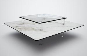 Marais International - céramique et verre - Table Basse Carrée