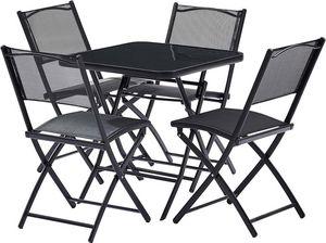 WILSA GARDEN - table terasse 4 personnes avec chaises pliantes ac - Salle À Manger De Jardin