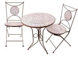 Esschert Design - table et chaises jardin fer forgé céramique 2 pers - Salon De Jardin