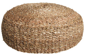 Aubry-Gaspard - pouf rond en jonc de mer - Pouf