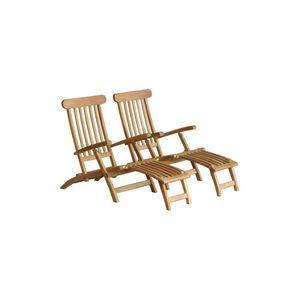 BOIS DESSUS BOIS DESSOUS - lot de 2 steamers en bois de teck midland - Chaise Longue De Jardin