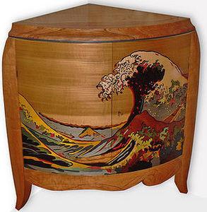 galerie-artetdesign.com - marqueterie - Table Basse Triangulaire