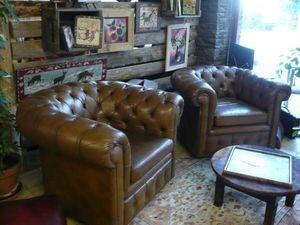 L'atelier du fauteuil club - paire de fauteuils cherterfield - Fauteuil Chesterfield