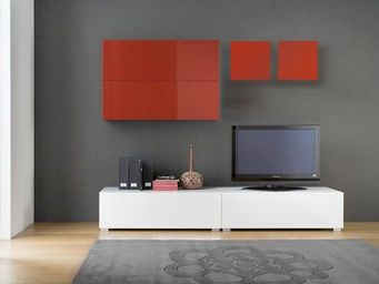 ACHATDESIGN.COM - ensemble tv mural tango laqu� blanc et rouge - Meuble De Salon Living