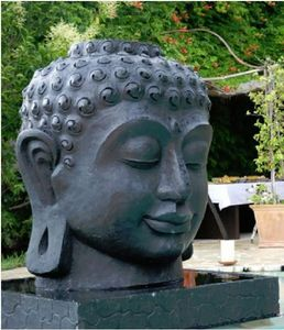 MEMOIRE DES ORIGINES - buddha head - Fontaine Centrale D'ext�rieur